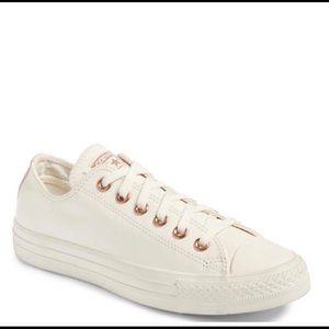 White Rose Gold Leather Converse   Poshmark